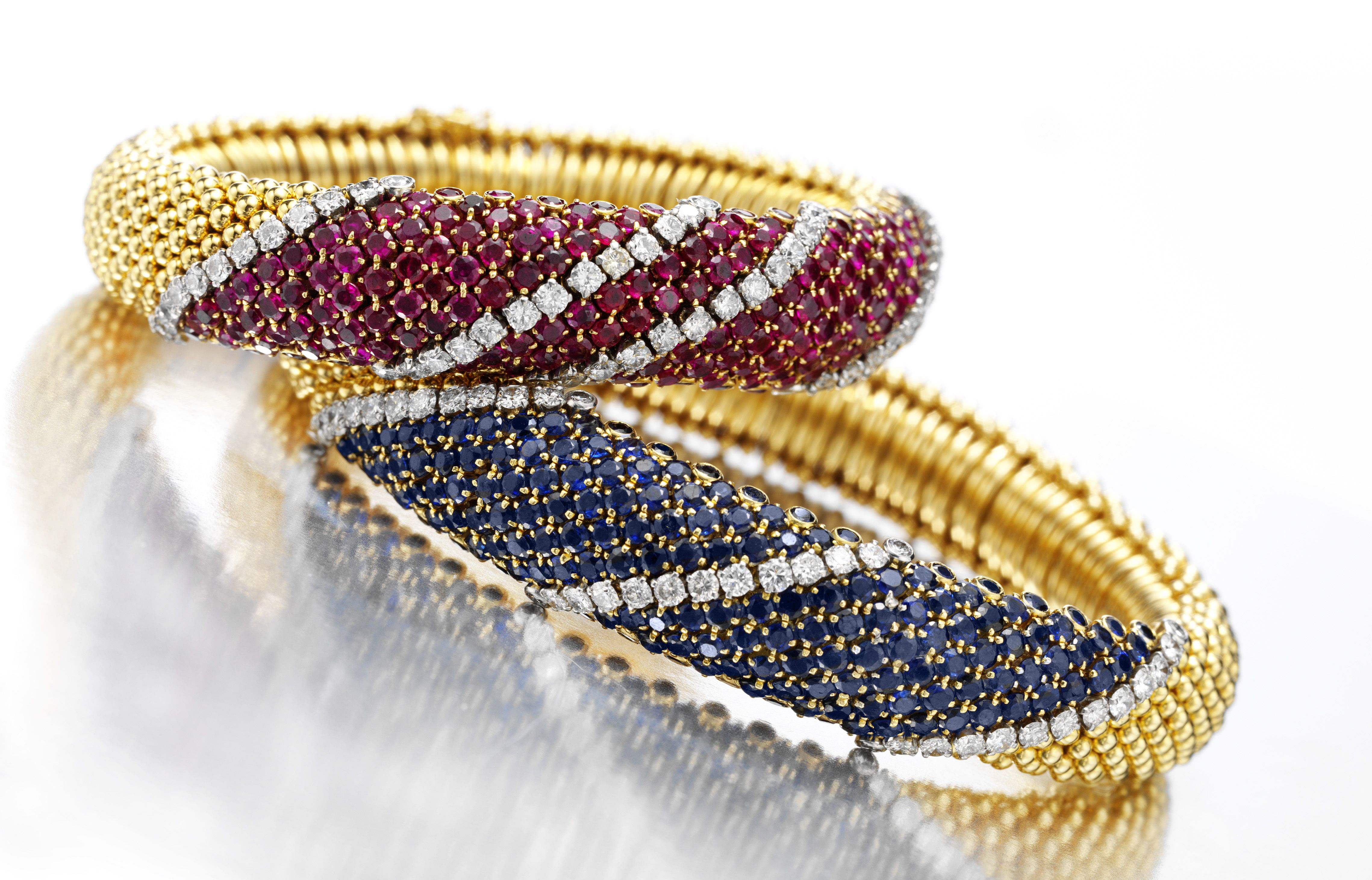 Van cleef u arpels a pair of gold ruby sapphire and diamond ucous