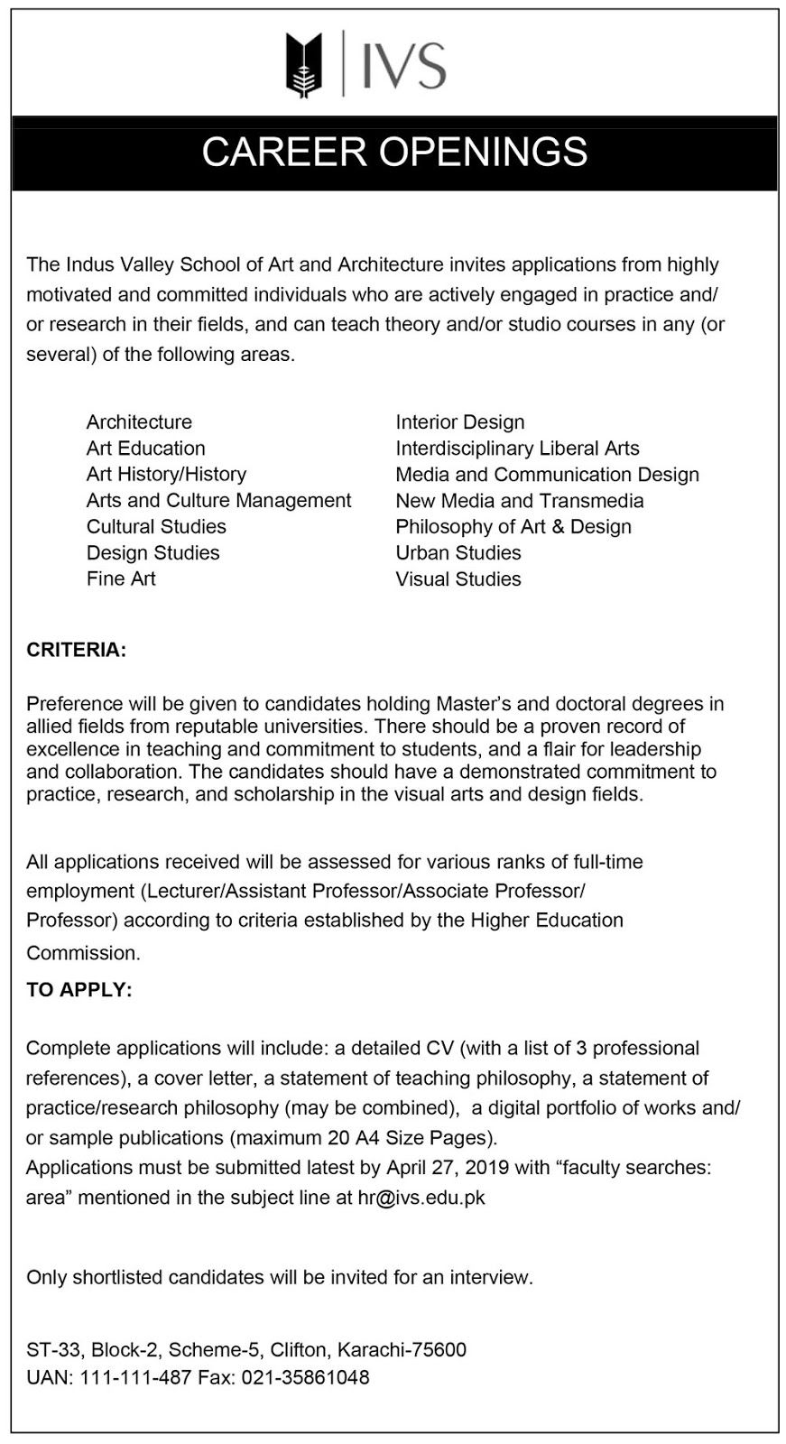 Pakistan Jobs BAZAAR: JOBS | Indus Valley School of Art and