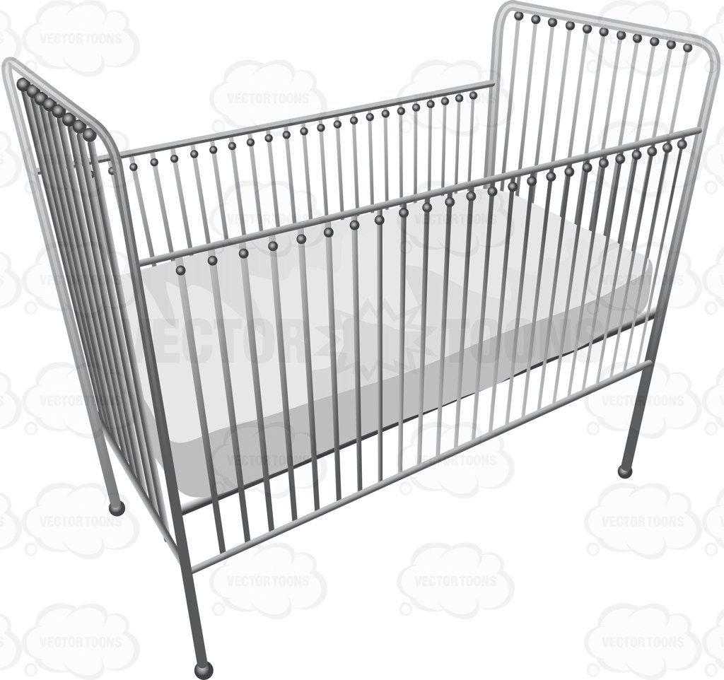 A Metallic Baby Crib With A Soft White Mattress Baby Cribs Cribs Crib Tent