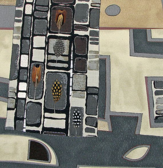 In Our Midst II  earthy city abstract with by ArtOfTextile on Etsy