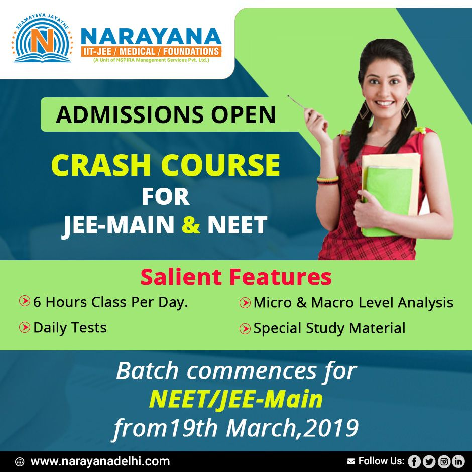 Focus on your dreams aptly only with Narayana  Join our