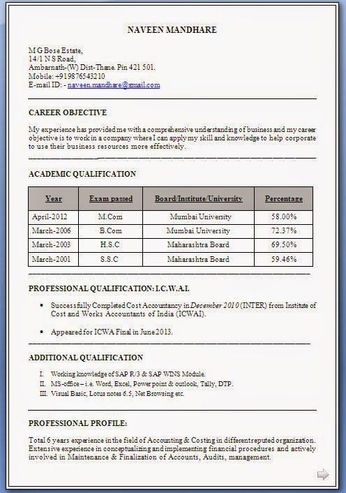 examples of bio data Excellent Curriculum Vitae / Resume / CV Format