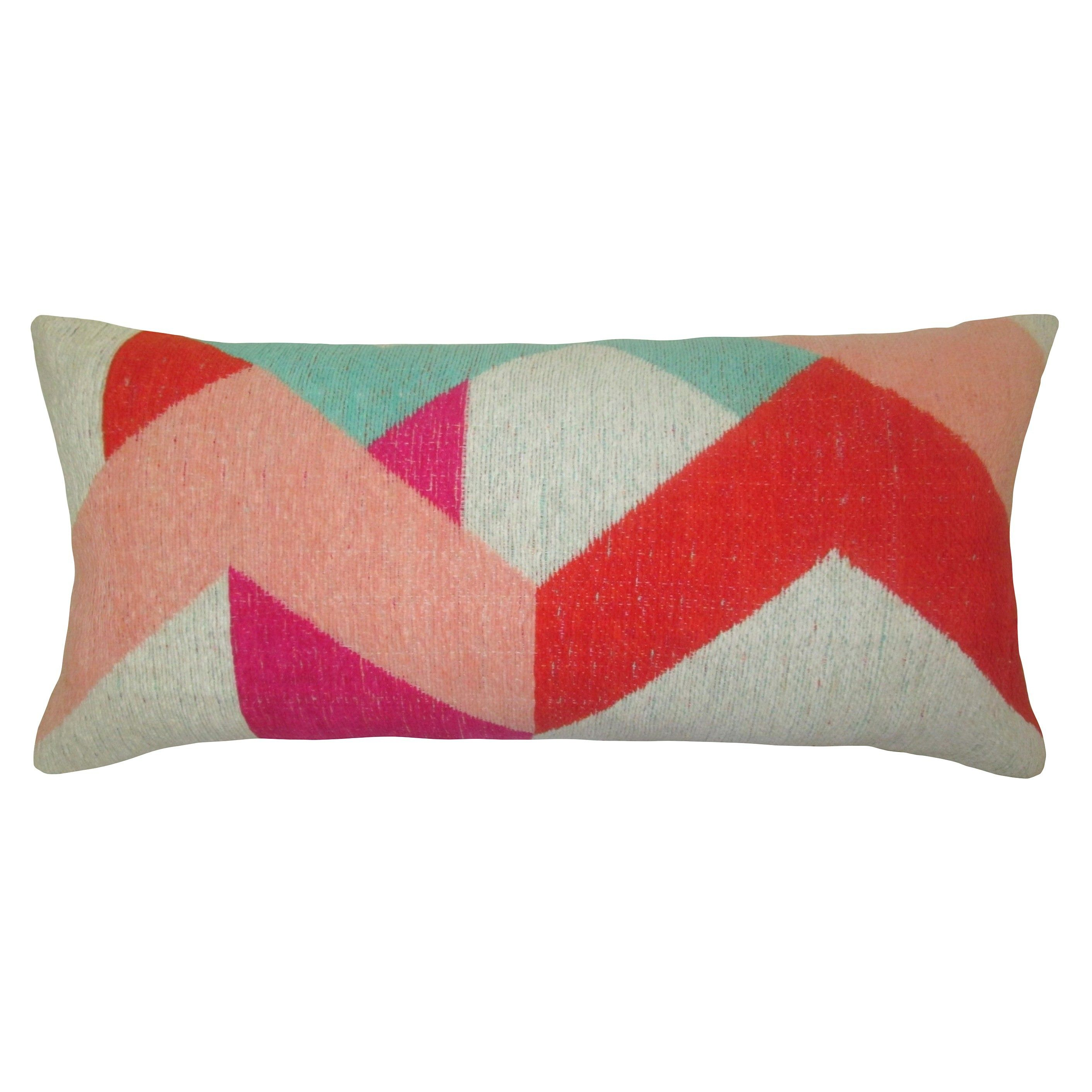 The Yarn Dyed Lumbar Pillow in Pink from Threshold is fortable