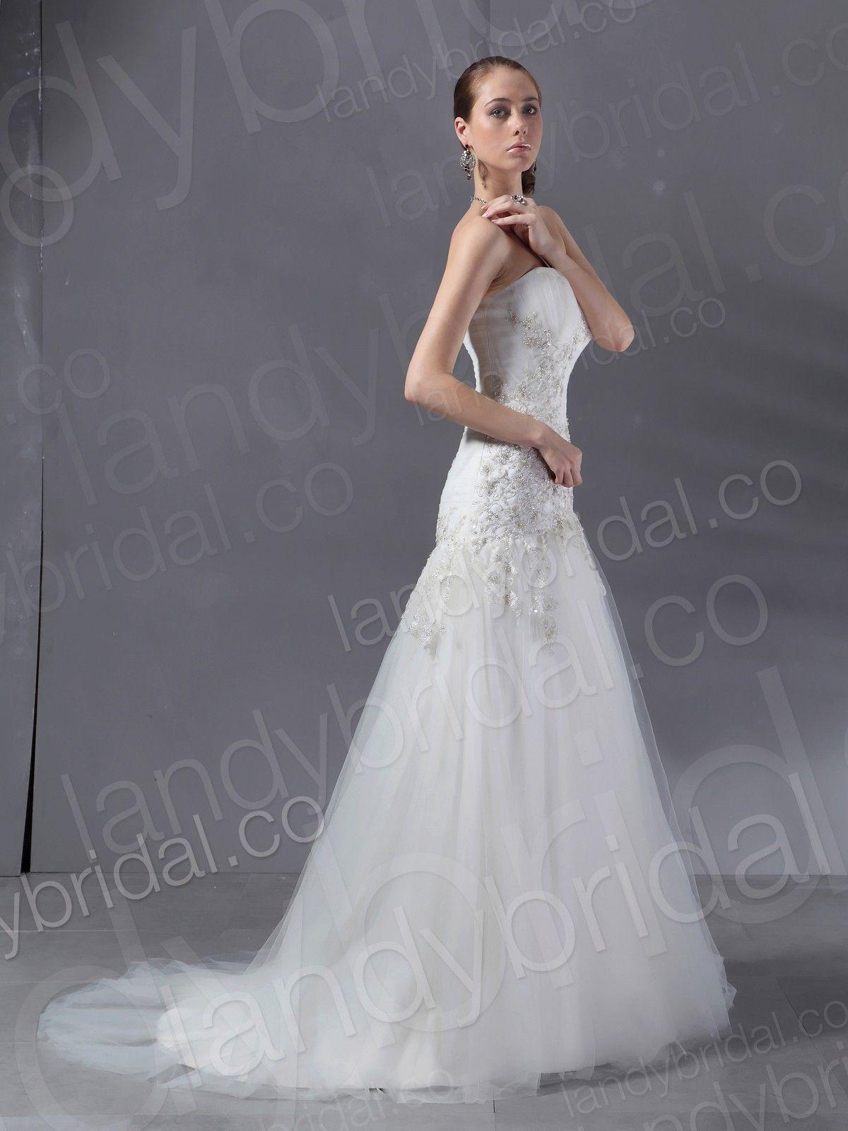 Drop Waist Tulle Wedding Dress | Drop Waist Sweetheart Court Train ...
