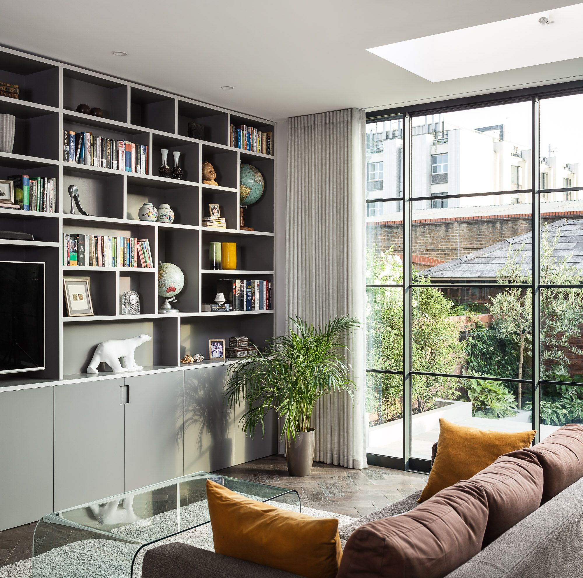 Bepsoke Living Room Joinery and Crittall Sliding Doors with ...