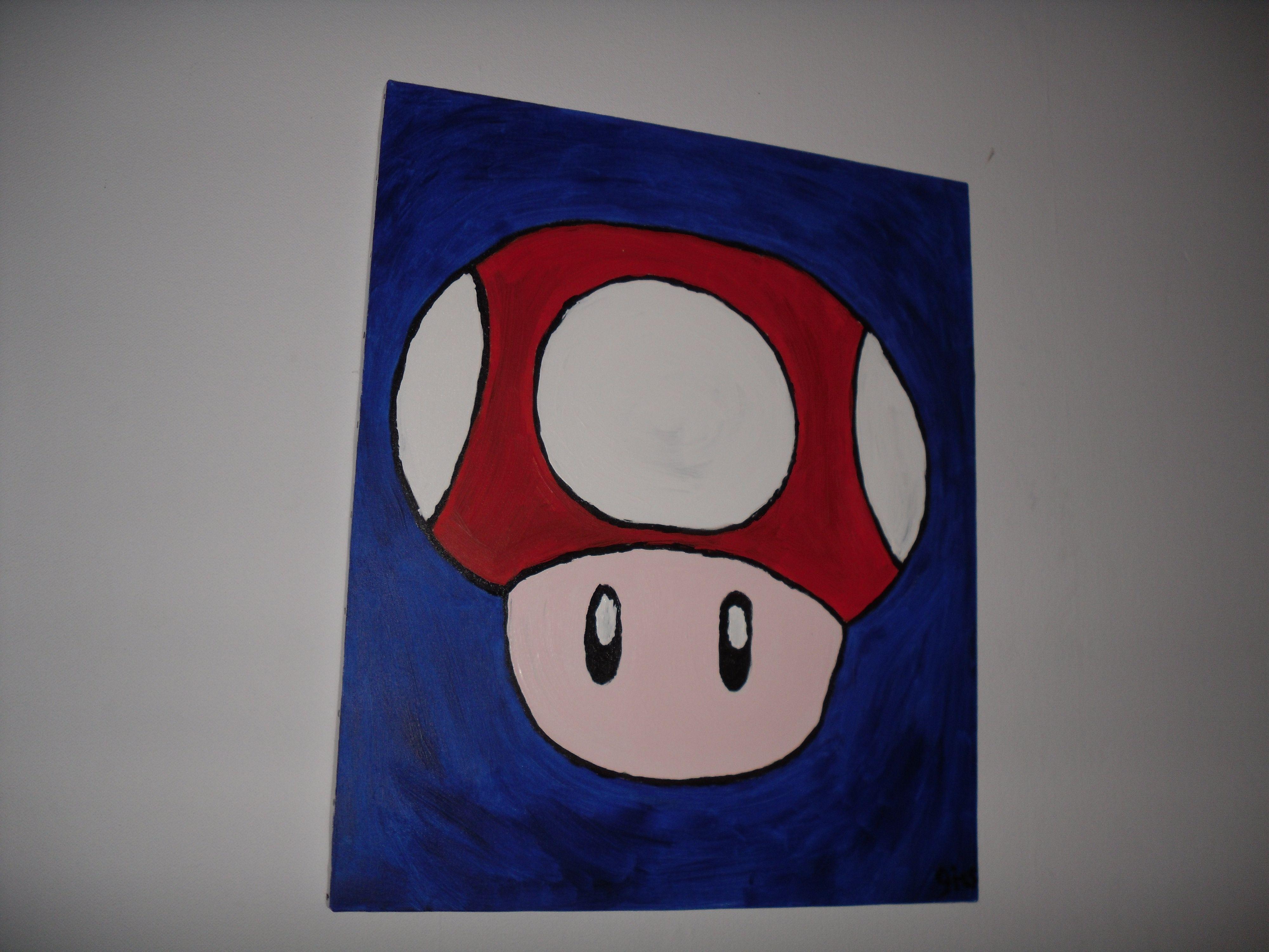 mario mushroom painting Mushroom paint, Painting, Cuddling