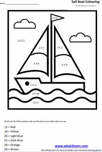colour by numbers printable mathematics worksheet - Fun Pictures To Colour In 2