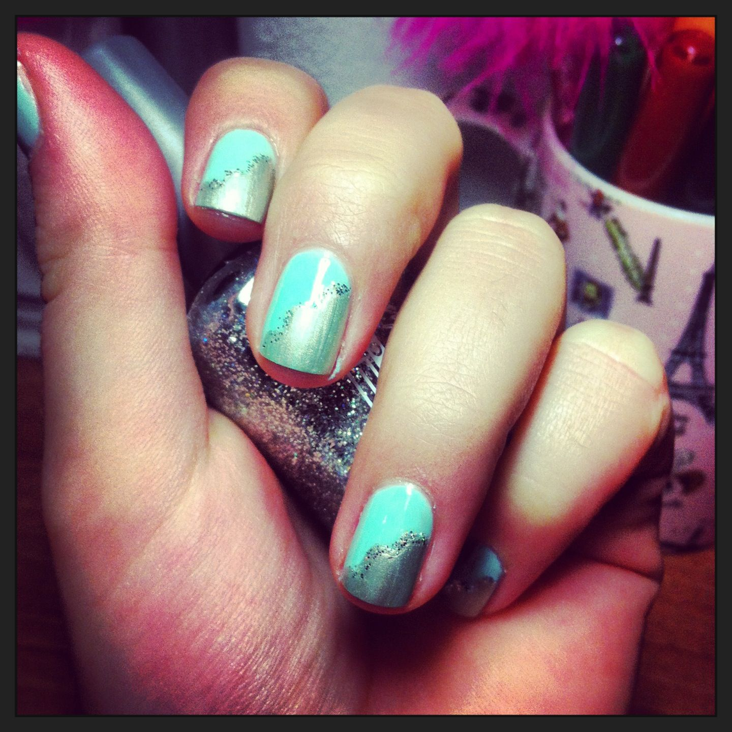 """Nail design """"Silver clouds in the Sky"""""""