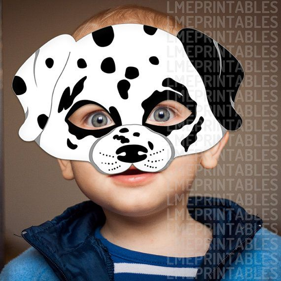 dalmatian dog mask printable animal childrens halloween masks spotted dog white party costume birthday carnival adults kids 101 dalmatians