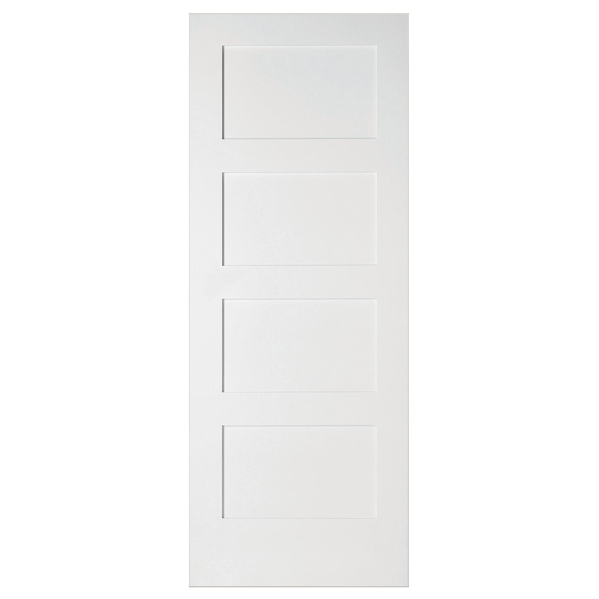 Plain White Door 4 panel shaker primed smooth internal unglazed door, (h)1981mm (w