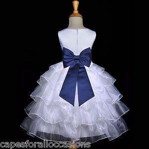Navy Blue Wedding Bridesmaid Dresses | White Navy Blue Bridesmaid Wedding Tiered Organza Flower Girl Dress 2 ...