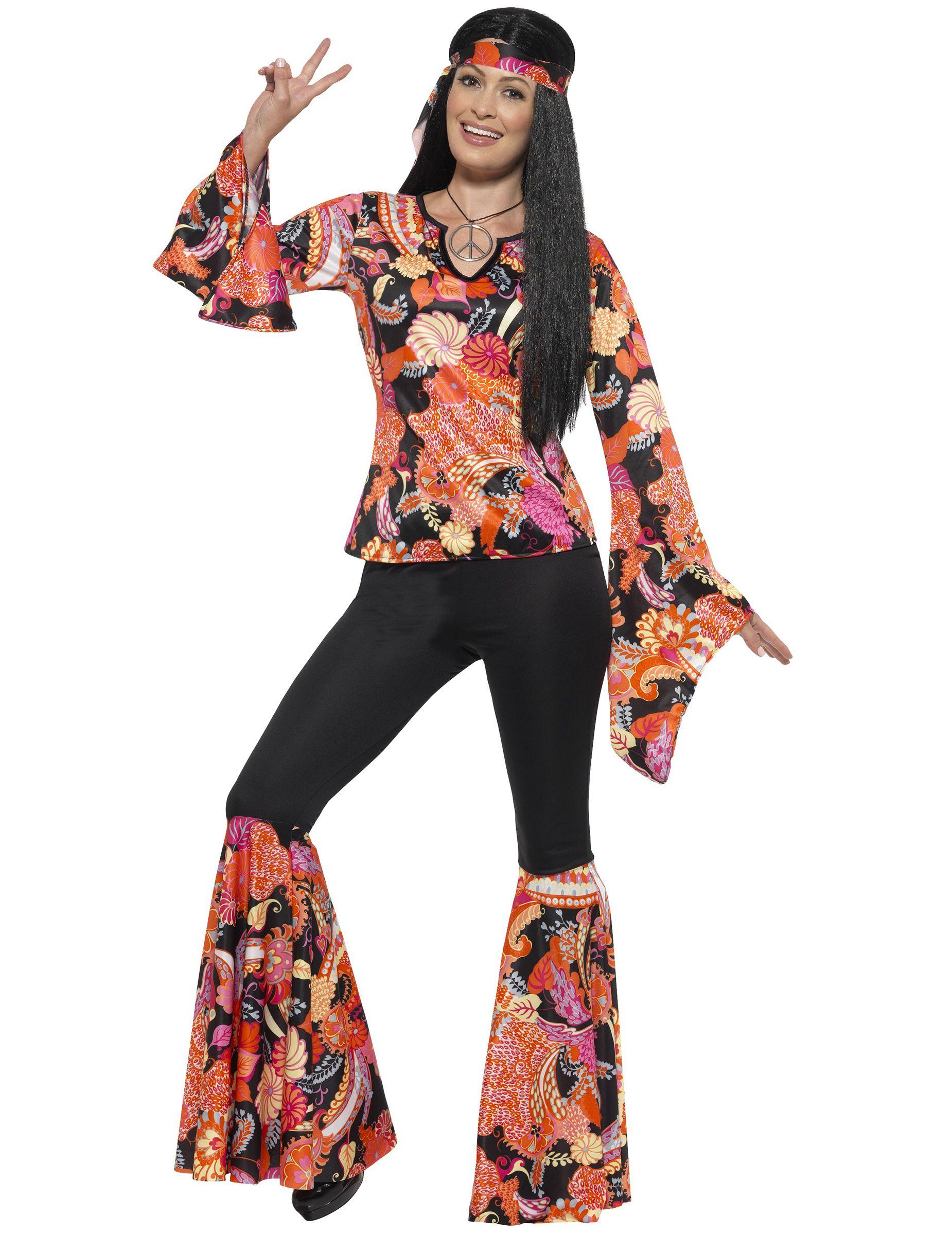 Flower Power Girl Damen Kostüm NEU Damen Karneval Fasching Verkleidung Kostüm
