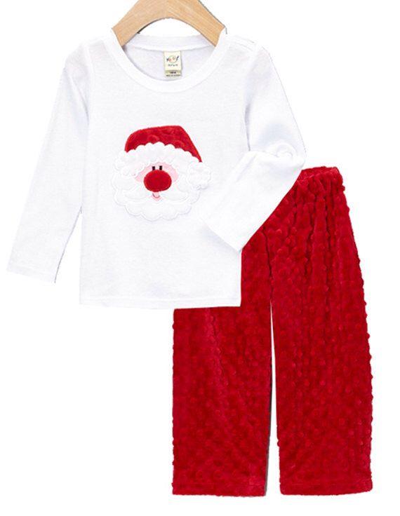 b2b433c356d4 Little Boy's Applique Christmas Santa Face Tee and Minky Pant Set for Baby,  Infant,