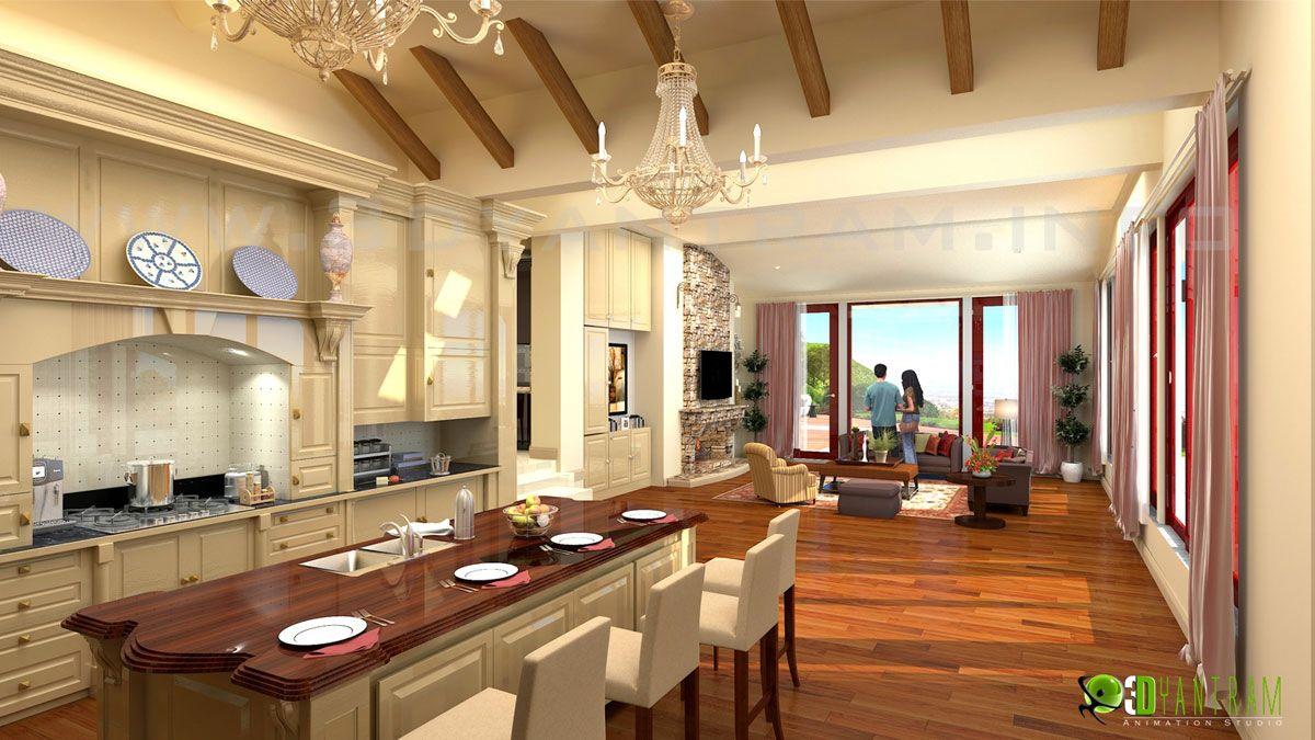Diseño de interiores de cocina moderna y las ideas de sala de estar ...