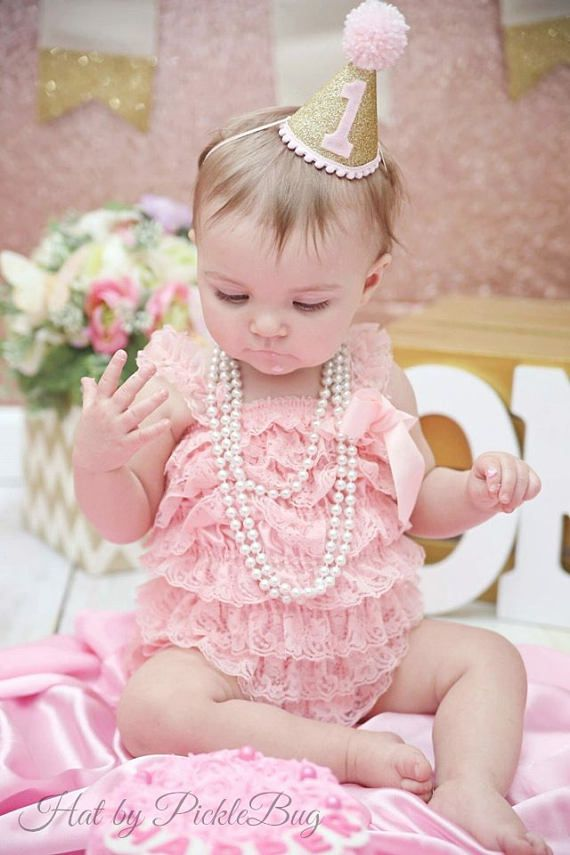 Cake Smash 1st Birthday Outfit With Mini Party Hat Baby Girls