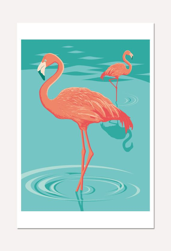 affiche illustration de deux flamants roses poster 30 x 45 cm affiches pinterest. Black Bedroom Furniture Sets. Home Design Ideas