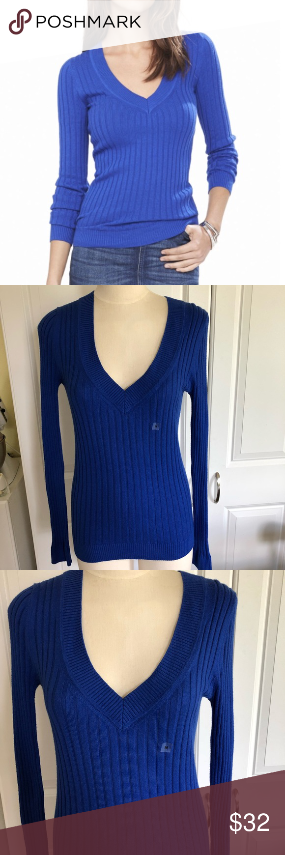 ae0f2848b6a Express Ribbed V Neck Sweater Express Ribbed V Neck Sweater NWOT Unwashed  unworn Fitted Cobalt blue Light weight Extra long sleeves  Cotton Rayon Nylon ...