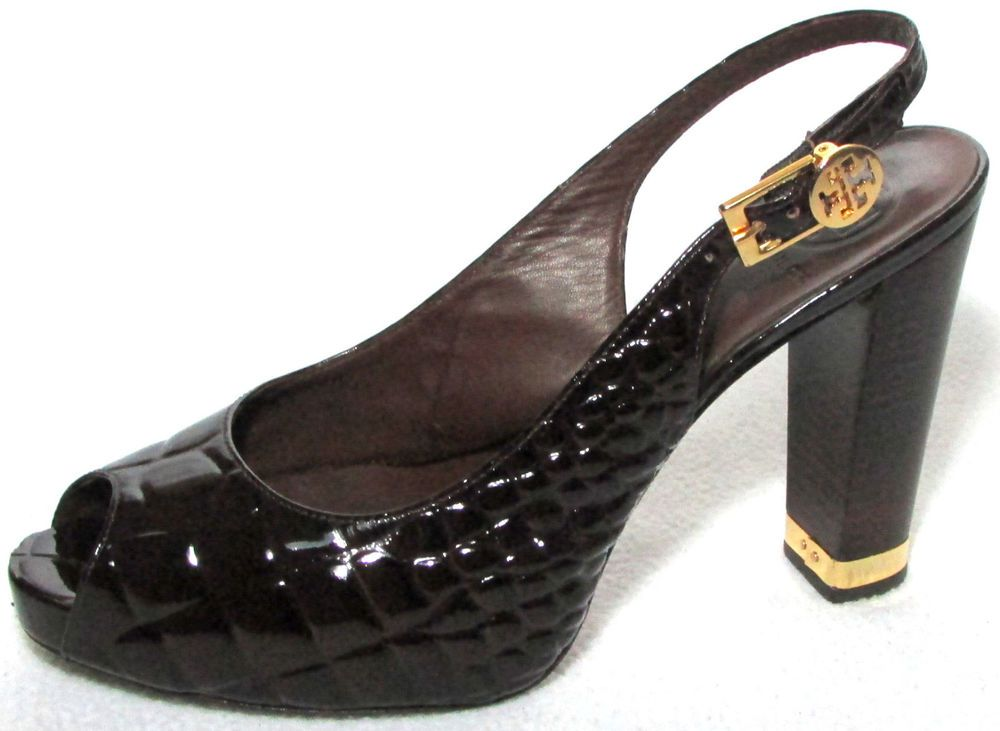 950dad2600d1a TORY BURCH ALLISON Reva Brown Croc Embossed Patent Slingback Heels 10 t   ToryBurch  OpenToe