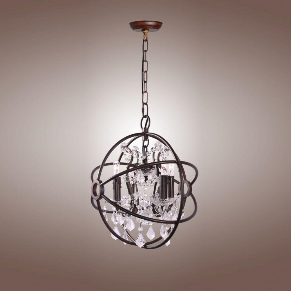 Rustic crystal chandelier atom orb frame ceiling light modern glam