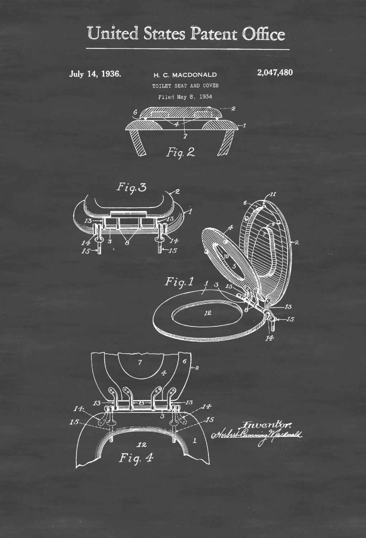 Superb Toilet Seat Patent Patent Print Wall Decor Bathroom Lamtechconsult Wood Chair Design Ideas Lamtechconsultcom