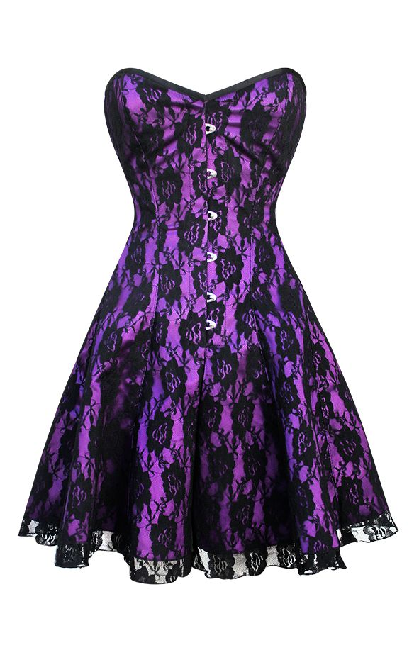 Purple with black lace corset dress | me gusta para mi esposa ...