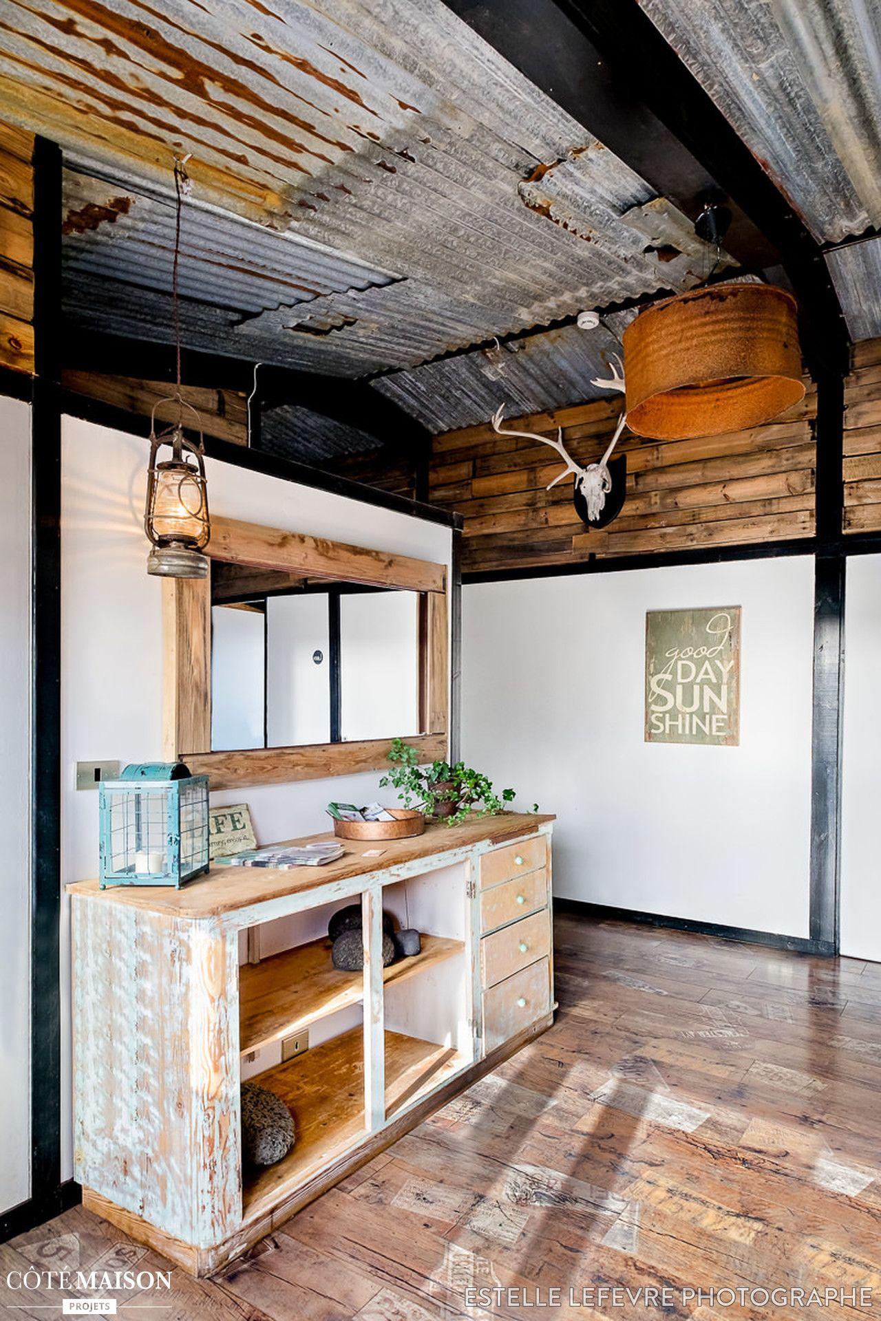 Plafond bardage t le ondul e rouill e home salle de bain en 2019 bardage tole tole ondulee - Maison en tole ondulee ...