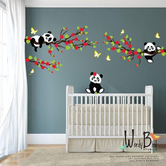 Panda bear stickers muraux avec des branches de cerisier fleur et papillons r utilisable pour - Stickers muraux chambre enfant ...