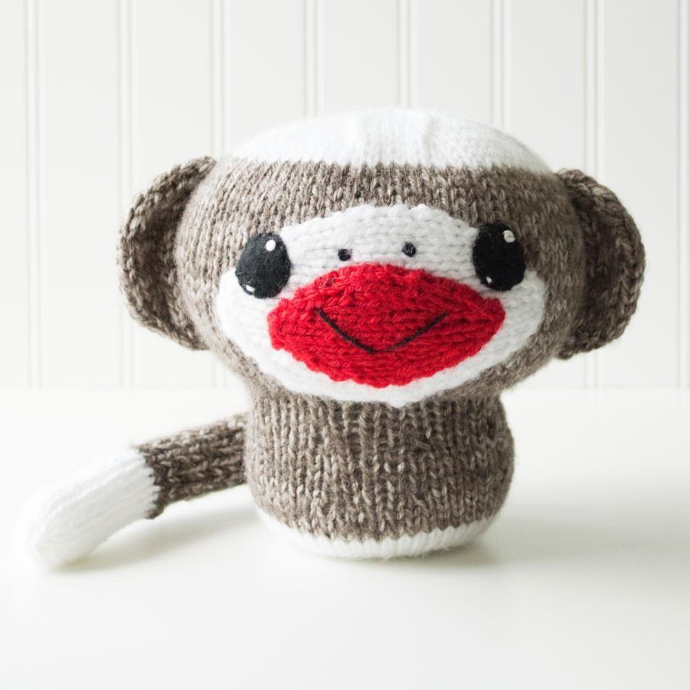 Knit Amigurumi Sock Monkey Pattern, 8 inch | Crafty Alien Patterns ...