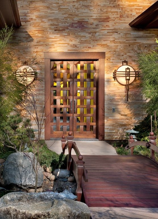 Asian Front Door With Wooden Garden Bridge Eldorado Stone