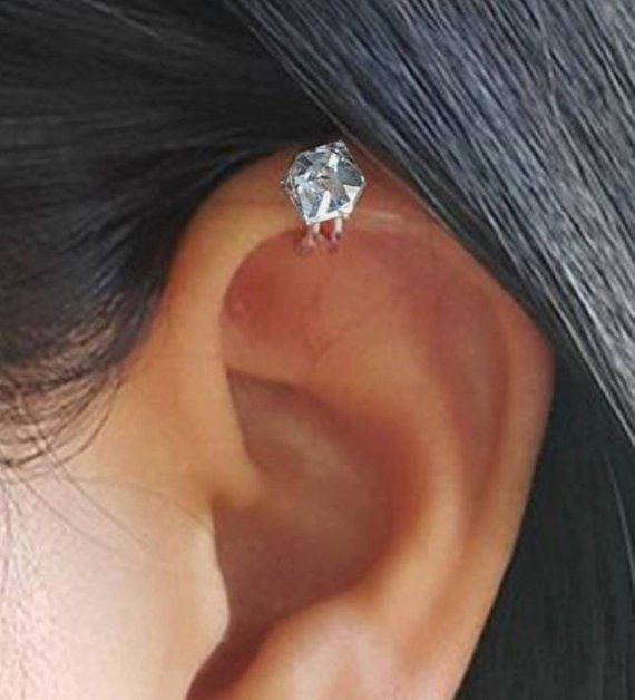 982cc779d Minimal ear cuff,non pierced earrings,Diamond white Swarovski crystal,Rose  gold plated,Clip on ear,H