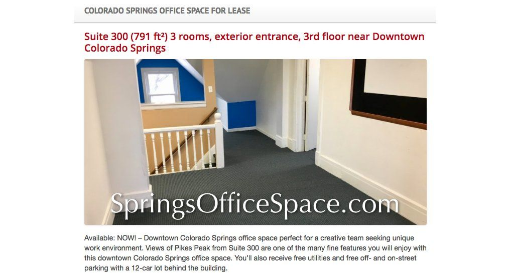 Downtown ColoradoSprings officespace perfect for a