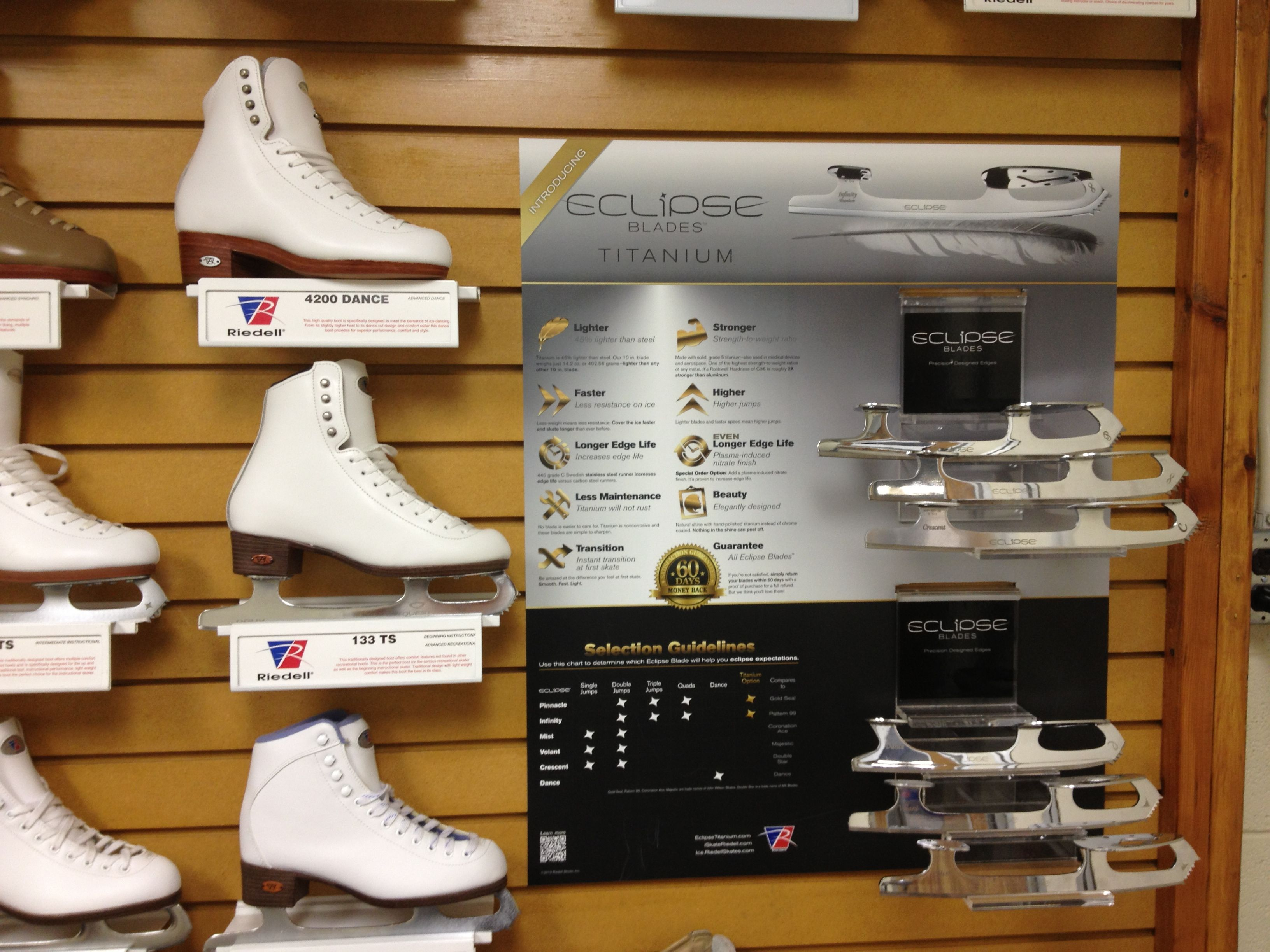 Find Our Eclipse Titanium Blades Wall Display At Select Riedell Dealers Near You Figureskating Riedell Ice Skates Skate Ice Skating