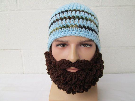 KNIT BEARD HAT long Beard Beanie barbarian Bearded by Ritaknitsall