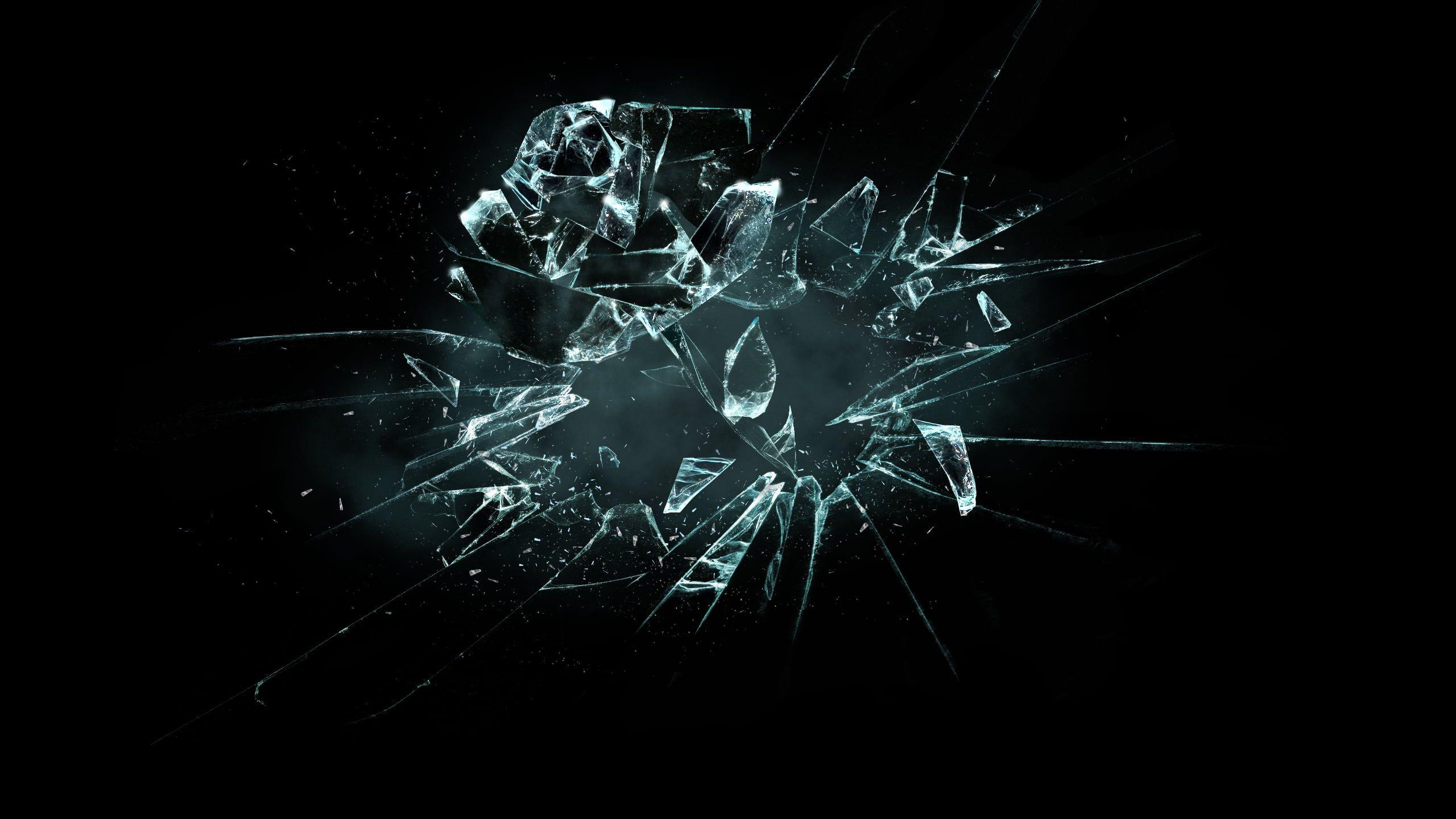 Broken Glass Wallpaper Rose Broken Flower Shards Of Glass The Broken Flower 2k Wallpaper Hdwallpa Broken Glass Wallpaper Screen Wallpaper Graphic Wallpaper