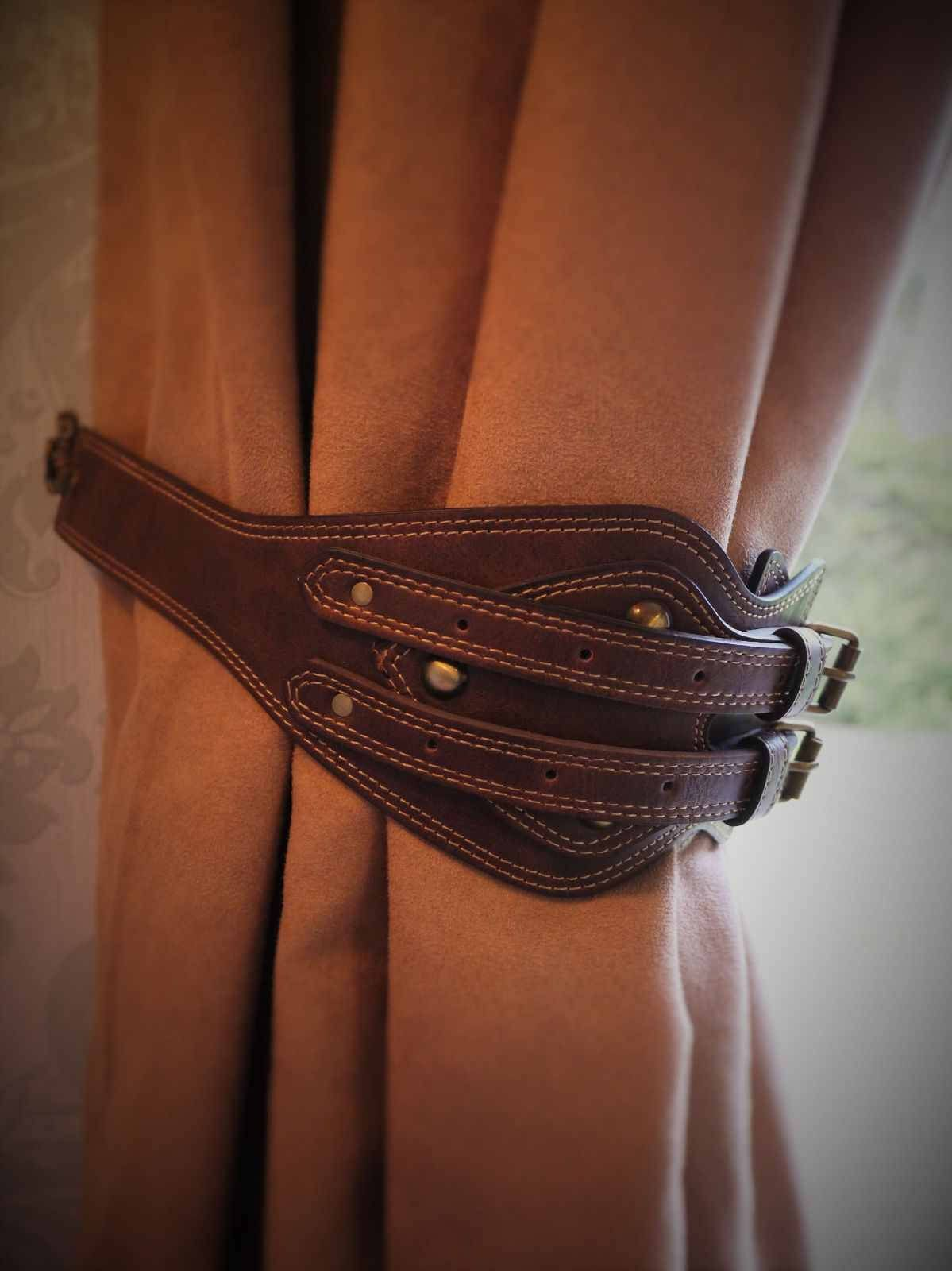 Hand Crafted Vintage Leather Belt Curtain Tie Backs Hold Vintage Leather Belts Belt Curtain Tie Backs