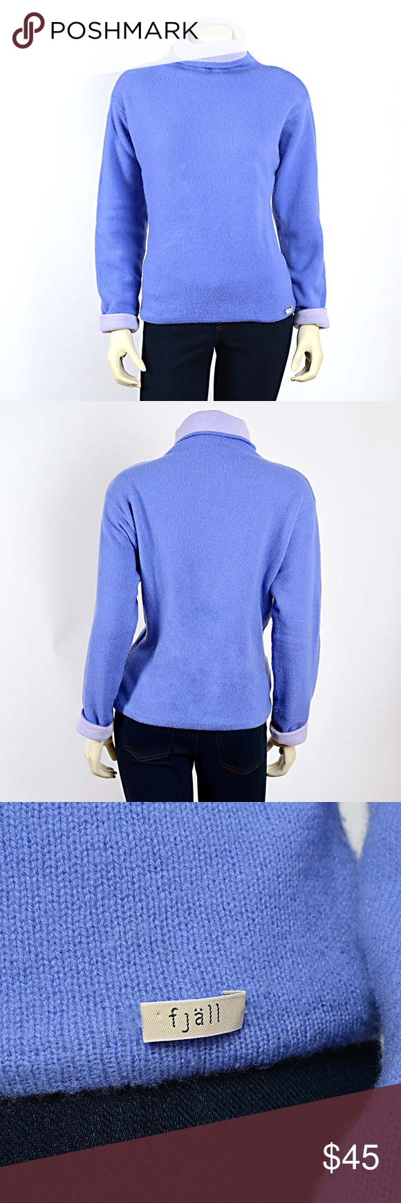 Reversible Blue Wool and Cashmere Sweater | Blue wool, Cashmere ...