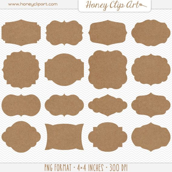 photograph regarding Printable Kraft Tags called Printable Kraft Paper Label Clip Artwork: Brown Kraft Tags