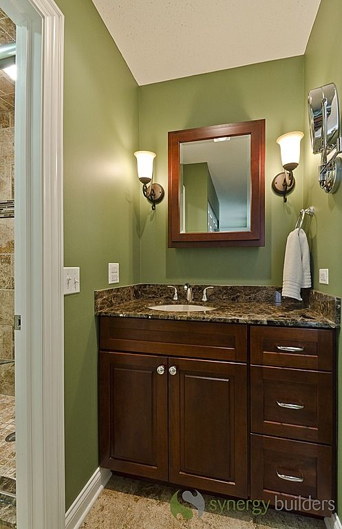 Craftsman 3 4 bathroom sconces green with dark brown for Brown and green bathroom designs