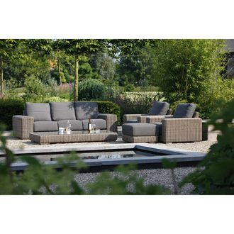 Salon De Jardin Bas 5 6 Places En Resine Tressee Osier Canape 2 Fauteuils Table Basse Pouf Kingston Table Basse Pouf Table Basse Exterieur