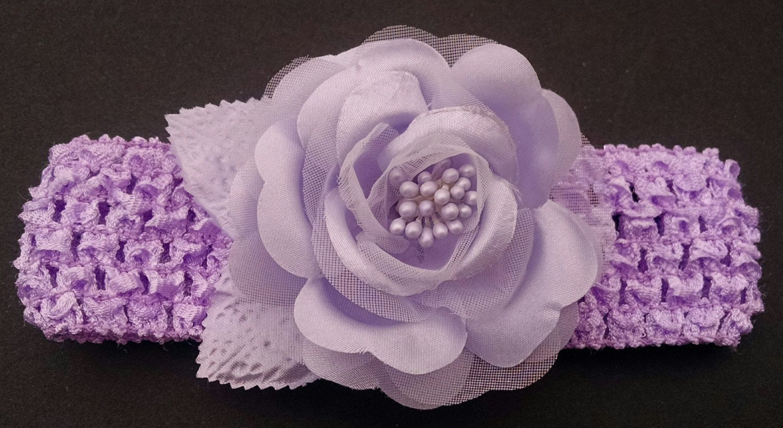 Baby Headband, Rose Headband, Lavender Headband, Baby Girl