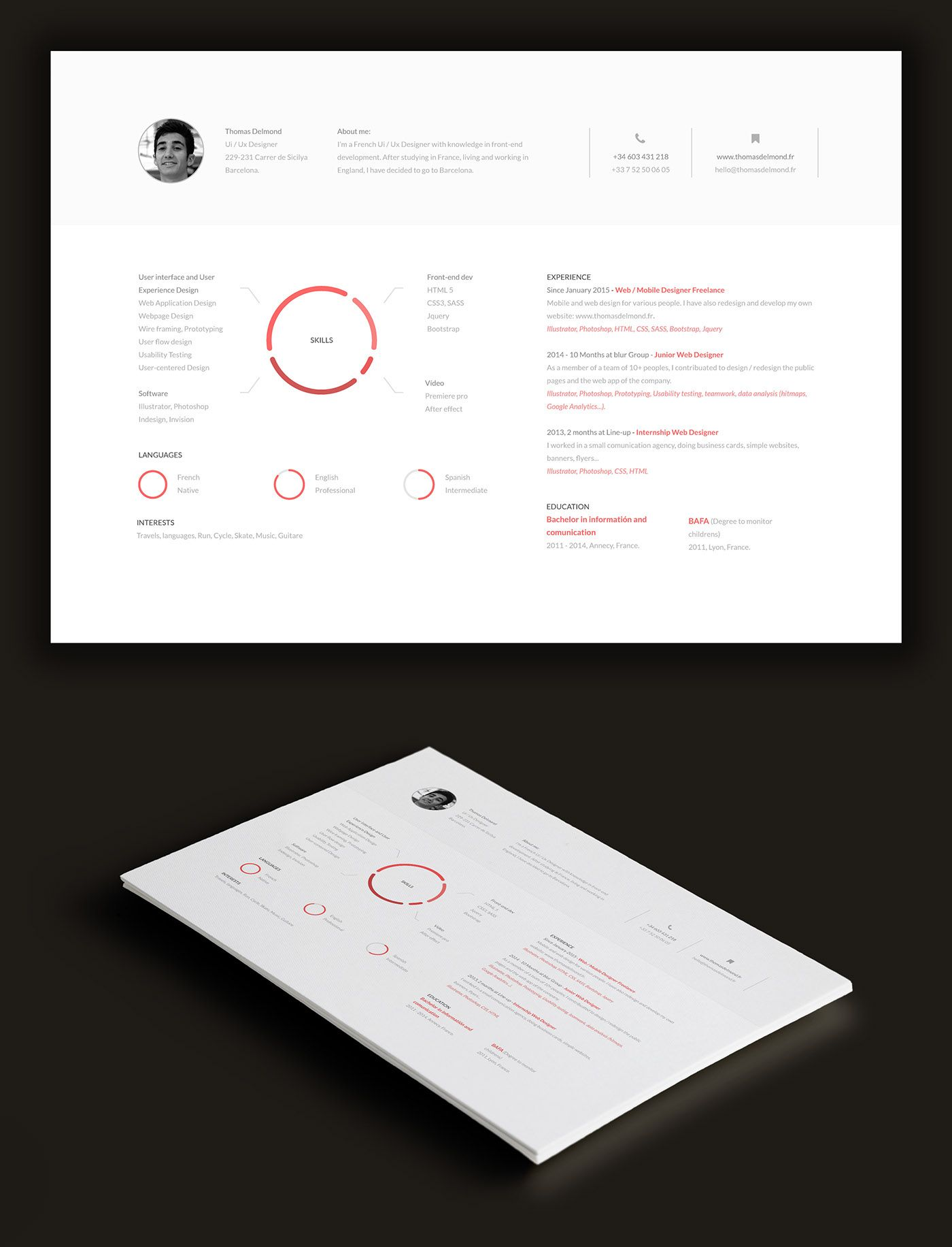 Web Testing Resume Minimalistic Cv On Behance  Graphic Design  Pinterest  Donut .