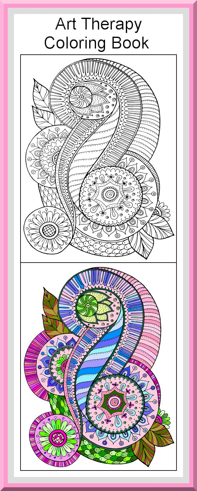 Zen colouring advanced art therapy collector edition - Printable Art Therapy Coloring Pages 30 High Definition Coloring Pages Black Outlines With Colored Examples