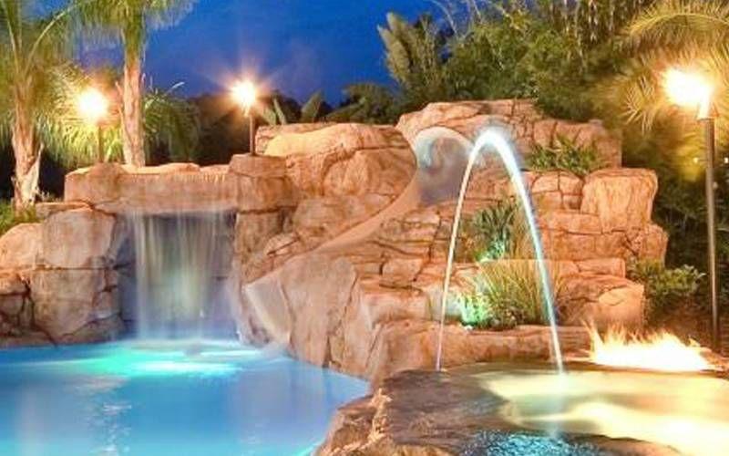 Custom Portable Pool Slides Fiberglass Residential Water Slide Dolphin Waterslides Custom Pools Backyard Pool Swimming Pools Backyard