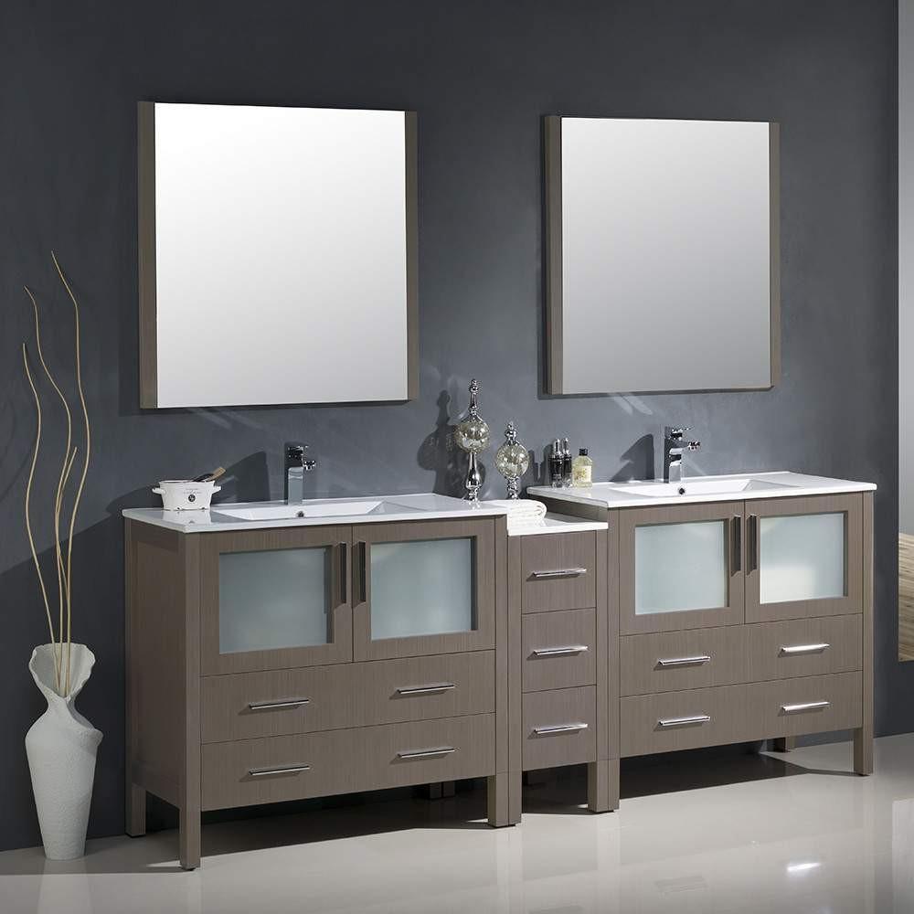 """fresca torino 84"""" gray oak modern double sink bathroom"""