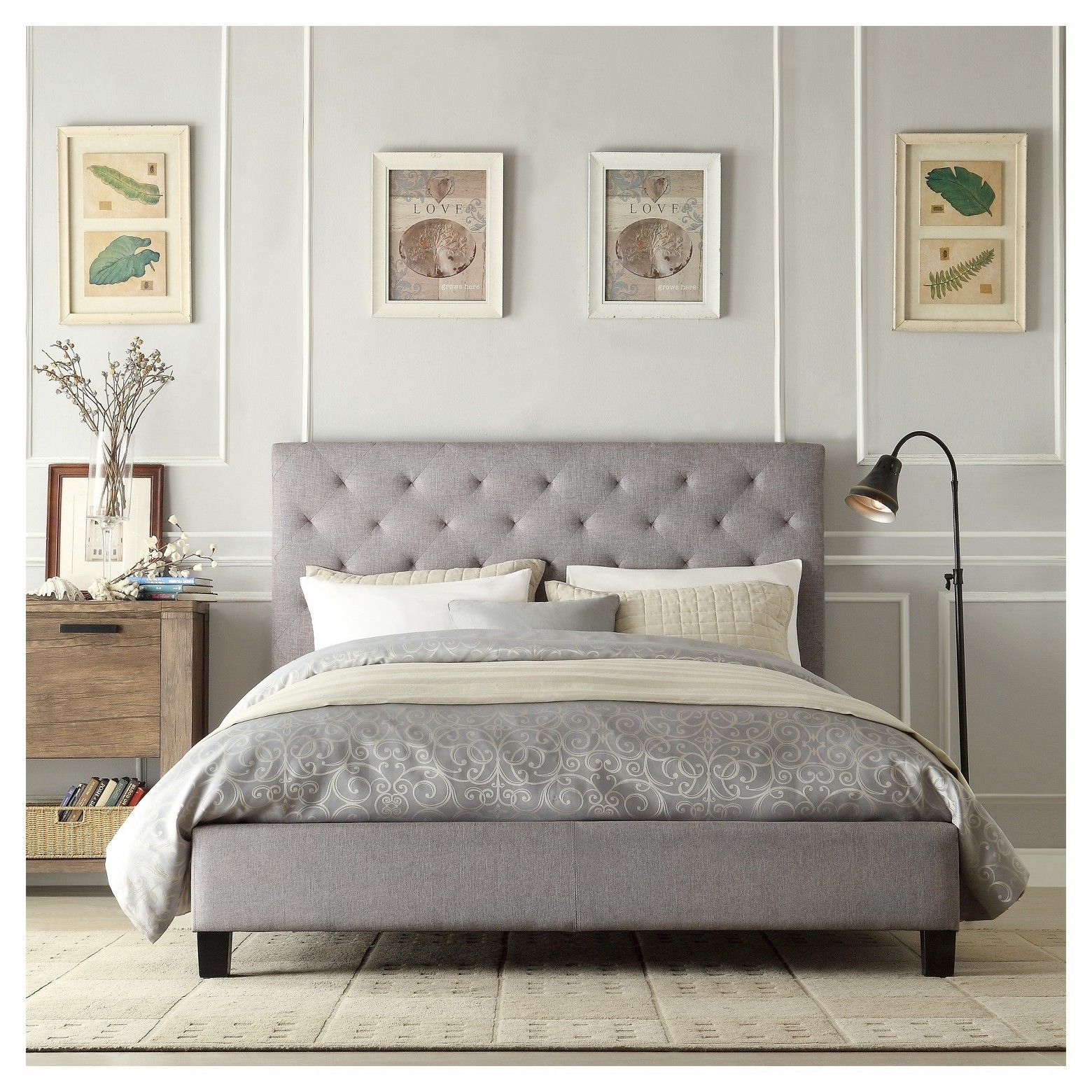 Modern Diamond Gray Button Tufted Upholstered Padded Square Queen Platform