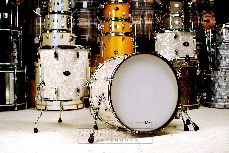 Montineri Custom Vintage Mahogany 3pc Drum Set White Marine Pearl