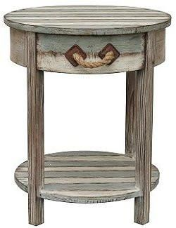 Best Beach Cottage Rope Handle Weathered Round Side Table 640 x 480