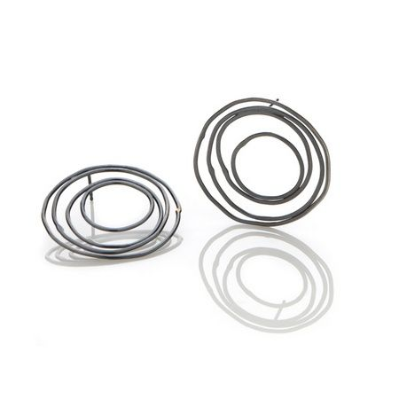 Simple circle post earrings by Amy Tavern, oxidized sterling silver. Gallery Lulo.