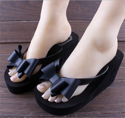 Women Summer Bowknot Thong High Heel Sandals Slipper Indoor Outdoor Female Beach Shoes