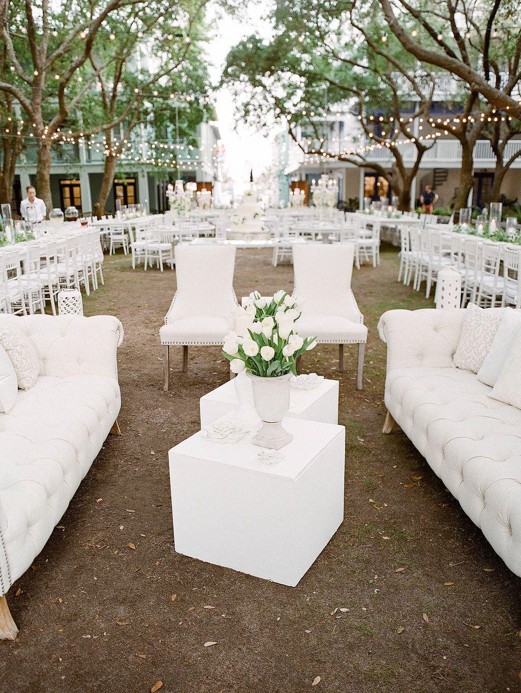White wedding decor ideas  Seaside DeBicci Lawn Spring Wedding in Seaside White Wedding decor